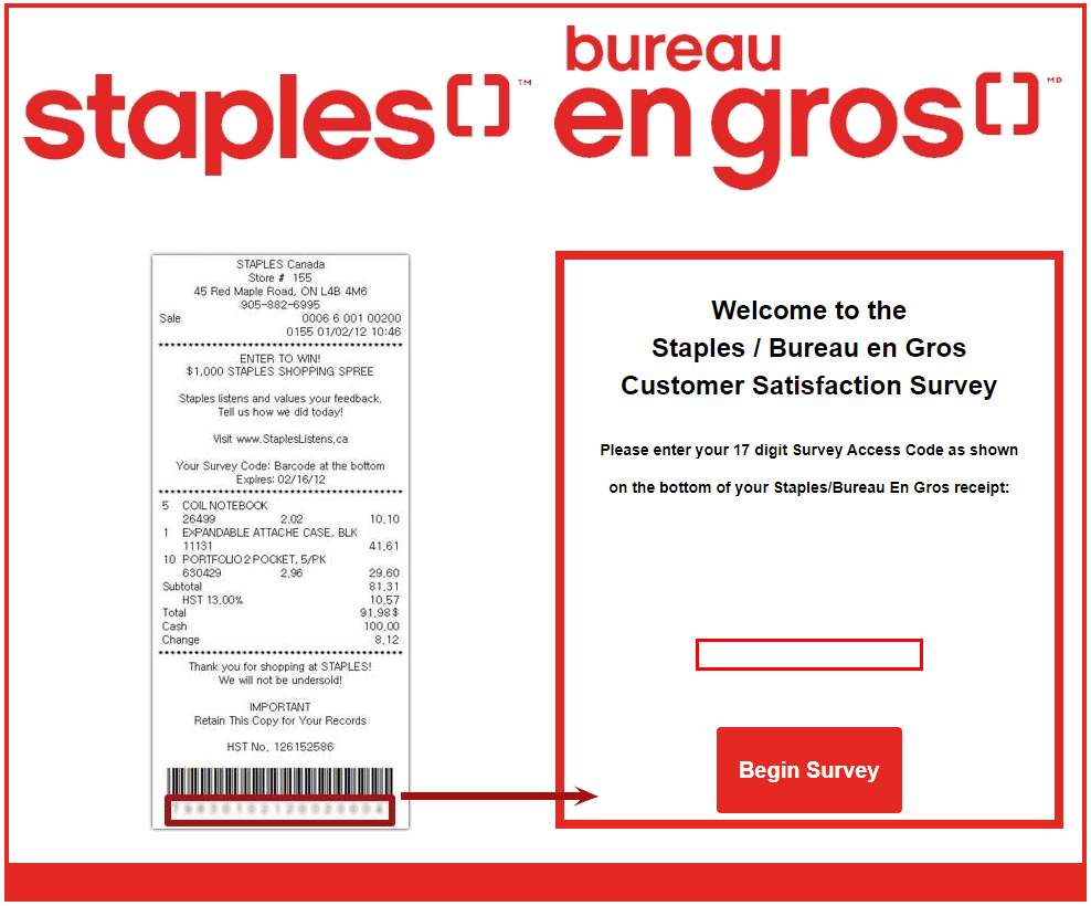 Staples Customer SurveyAnd Win $1,000 Prizes