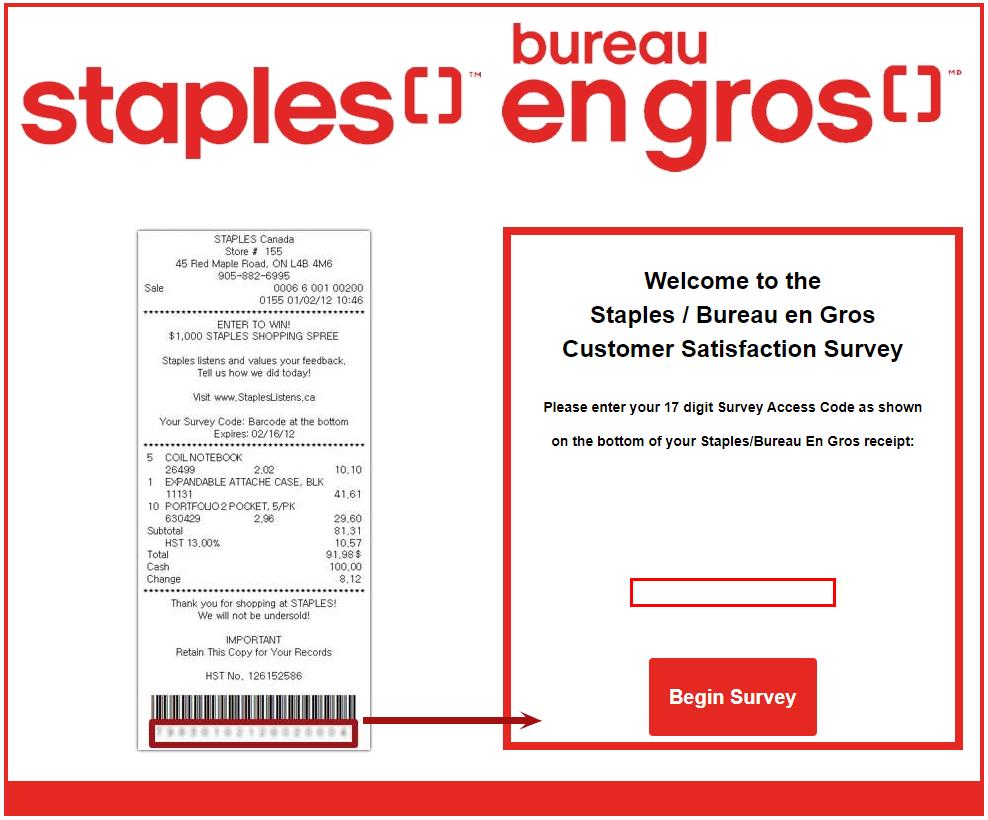 Staples Customer SurveyAnd Win $1,000 Prizes