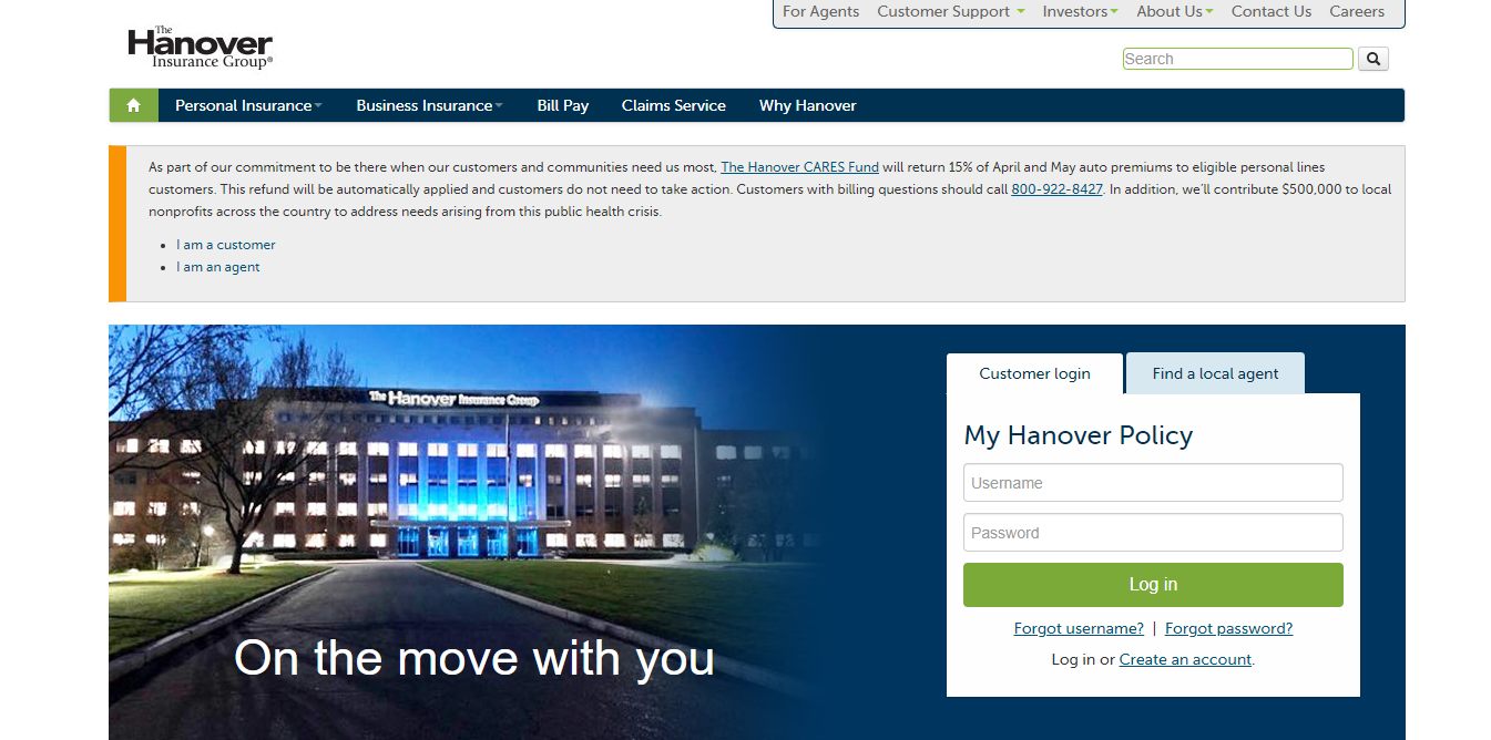 Procedure to Login into the Hanover Insurance Group Policy Portal