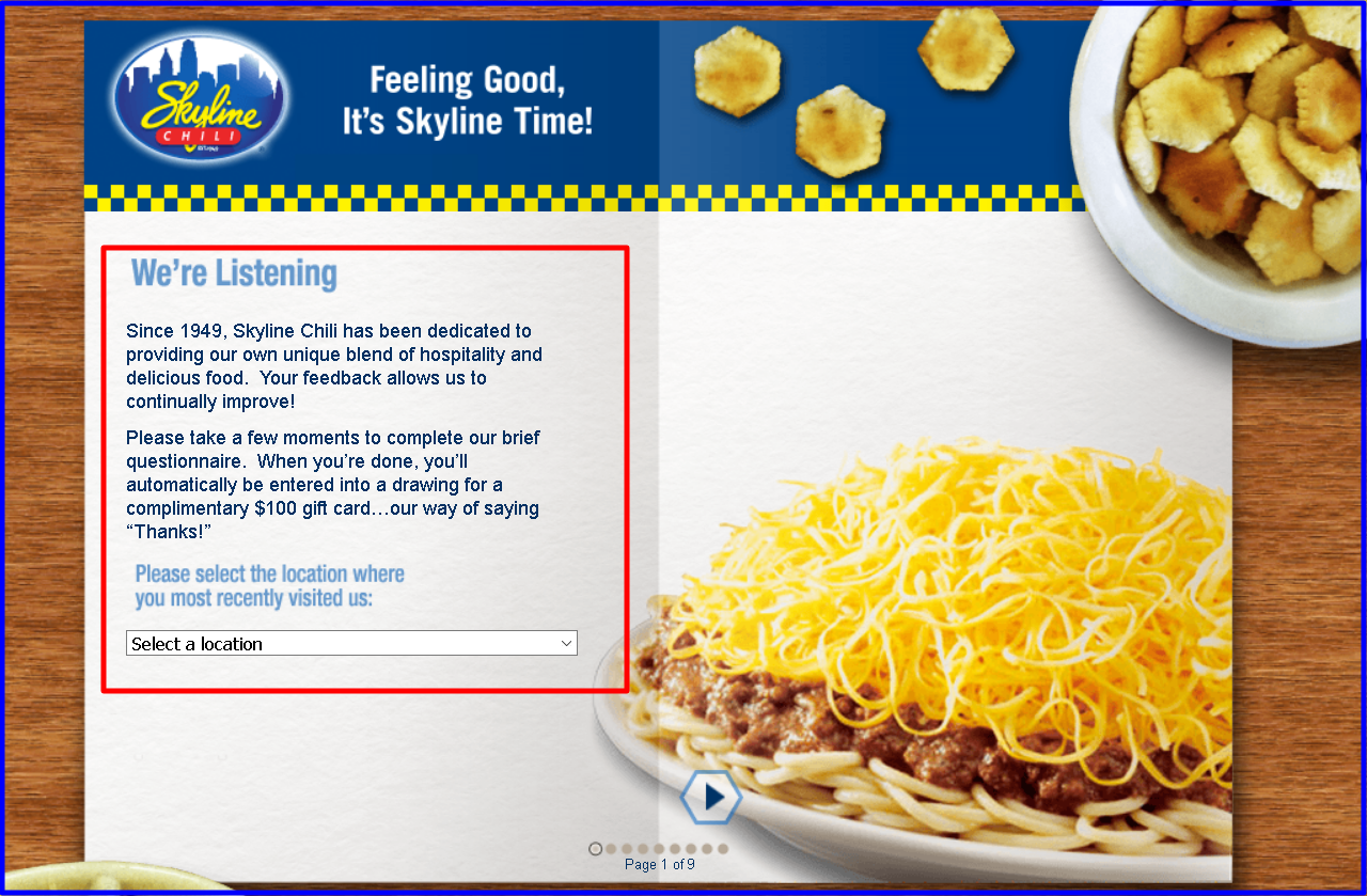 Skyline Chili Guest Satisfaction Survey